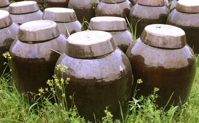 黒酢の仕込み壺